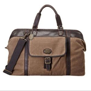 Fossil Estate canvas & Leather duffle NWOT